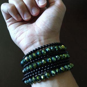 Green and black Jeweled Bangle bracelet